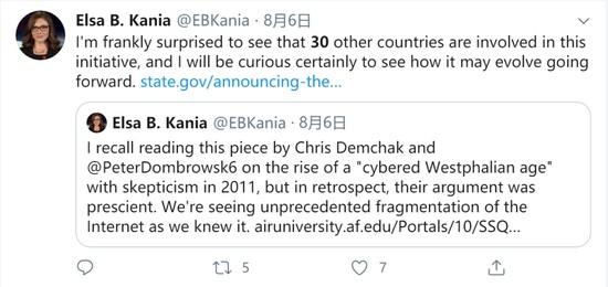 科技和国家安全计划(CNAS)研究员Else Kania表示,她惊讶有30个国家参与了这个提议/Twitter