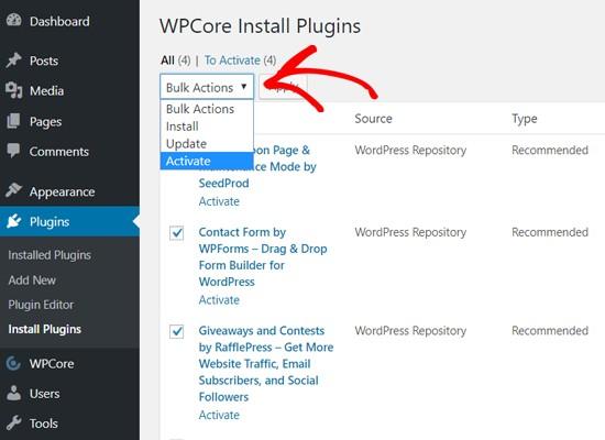 使用WPCore批量激活插件
