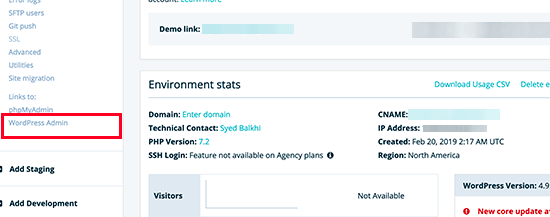 Login to your WordPress environment in WPEngine