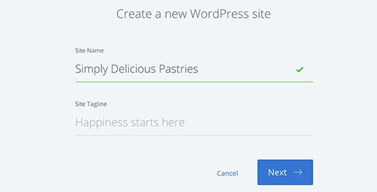 Provide a site title for your new WordPress site