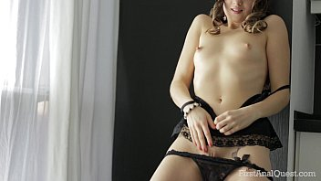 FirstAnalQuest.com - HER FIRST ANAL IS EROTIC AND AROUSING IN BLACK LINGERIE