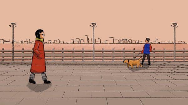 插圖(散步和遛狗的女子)