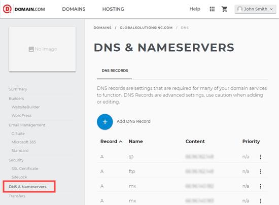 Domain.com中的DNS管理