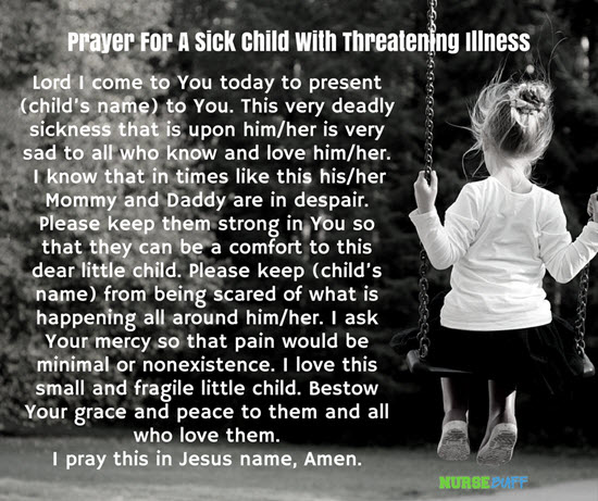 prayers for a sick child