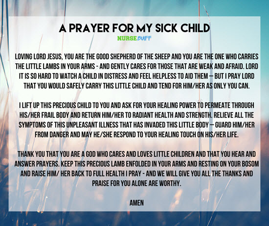 prayer for a sick child in hospital