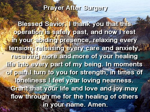prayer for someone going into surgery for cancer