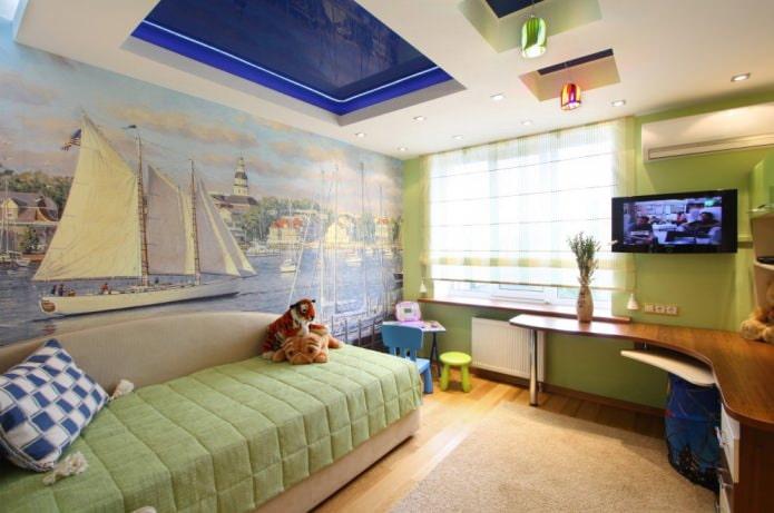 Изображение - Особенности выбора натяжного потолка в детскую комнату для мальчика proxy?url=https%3A%2F%2Fdesign-homes.ru%2Fimages%2Fgalery%2F1296%2Fnatyazhnoj-potolok-v-detskuyu11-t_c
