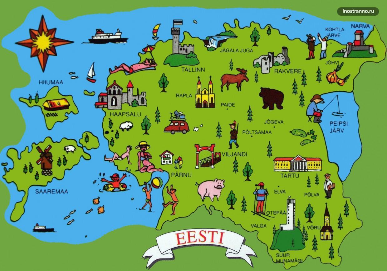 Изображение - Карта мира с достопримечательностями proxy?url=https%3A%2F%2Finostranno.ru%2Fwp-content%2Fuploads%2F2016%2F04%2FEstonia-Tourist-Map-1240x867