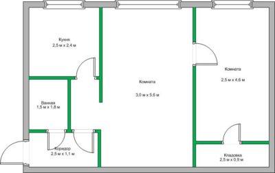Изображение - Дизайн двухкомнатной «хрущевки» площадью 43 кв. м идеи оформления интерьера proxy?url=https%3A%2F%2Fstroim.guru%2Fwp-content%2Fuploads%2F2018%2F03%2FPlan-dvuhkomnatnoj-hrushhevki-s-razmerami-400x252